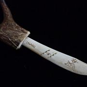 Inuit Bone and Horn Signed Scrimshaw  Dagger