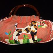 Terri Moore Vintage Beaded Purse, Dogs, Birds