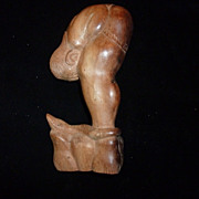 Folk Art Wood Carving,  Man Bent At Waist, and Serpent
