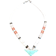 Turquoise Thunderbird Heishi Shell Necklace