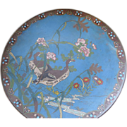 "19th Century Japanese Cloisonne Charger, 12"", as is"