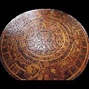 "Wood Marquetry Aztec Calendar, 12 1/2"""