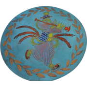 "Ratcliff Studios California Cloisonne, Enamel on Copper Decorative Platter, 21"", Native Flute Player"