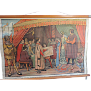 "Belgian School Poster, Canvas, Christopher Columbus, 1920's,  25"" X 34"""
