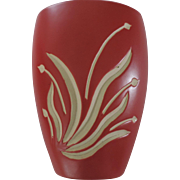 "7 1/2"" Red and White Intaglio Vase"
