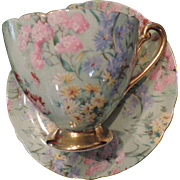 Shelley Melody Cup & Saucer, Green, Chintz
