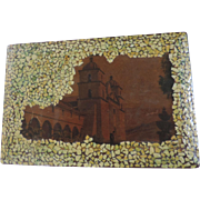 Unusual Souvenir Box, Yellow Mosaic and Red Wood, Mission/Monastery