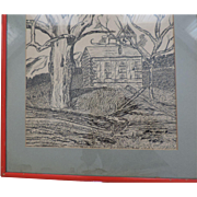 "Original Pen & Ink signed ""Mitzie"", 14"" X 22"", Matted and Framed"