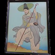 "Paul Jacoulet Woodblock Print, ""Le Bonze Errant"", Framed"