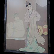 "Paul Jacoulet Woodblock Print, "" La Danseuse Coreene"", Framed"