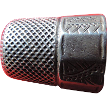 Sterling Silver Thimble, Inscribed Paneled Sides, Size 12