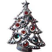 Multi Colored Rhinestone, Silver Metal Christmas Tree Pin