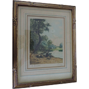 Jules Bastien-Lepage, Les Lavandieres, Hand Signed, Hand Colored Print, Original Frame