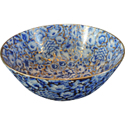 "Chinese Large Center Bowl, Cobalt Blue, Powder Blues, Gilt Highlights, 11 3/4"" Diameter"