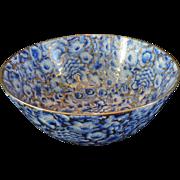 "Chinese Large Center Bowl, Cobalt Blue, Powder Blues, Gilt Highlights, 11 3/4"" Diameter"