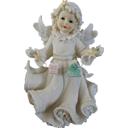 Vintage White Porcelain Christmas Angel, 7 3/4'