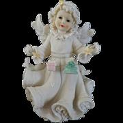 Vintage White Porcelain Christmas Angel, 7 3/4'