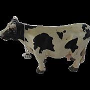 Vintage Holstein Cow Sculpture, Steel Skeleton, Plaster Body