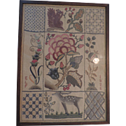 "Framed Hand Worked Linen Sampler, 1926, 13 1/2"" X 18"""