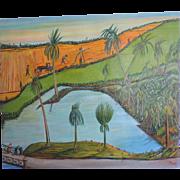 Louis Monza Allegorical Tropical Landscape, 1947
