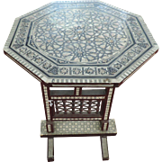 Moroccan Moorish Octagonal Mother Of Pearl Marquetry Side Table