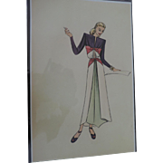"1930's-40's High Fashion Design Prints by Doris Rustad, 10 3/4"" X 16 3/4"""