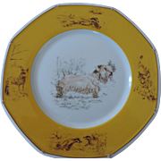 Hermes, Limoges, Sealyham Terrier Octagonal Dinner Plate, 10 1/4""