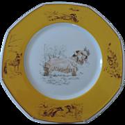 "Hermes, Limoges, Sealyham Terrier Octagonal Dinner Plate, 10 1/4"""