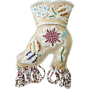 "Mohawk Souvenir Beaded Pin Cushion, Victorian Boot, 5"" X 10"""