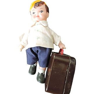 Boy With Suitcase, Clockwork Mechanical Toy, Japan