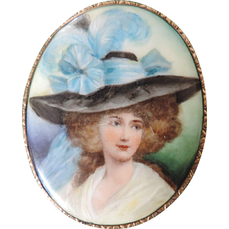 "Large Hand Painted Porcelain Portrait Brooch/Pendant, 2 7/8"" X 3 1/2"""