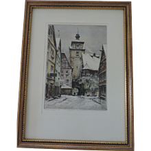 "Rodegasse In Rothenburg, Paul Geissler Etching, 7 1/2"" X 10 1/2"", Professionaly Framed"