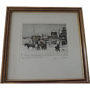 """Christmas Market, Pual Geissler Etching, 6 3/4"""""""" X 8 1/4"""" Image, Professionally Framed"""