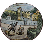 Don Quixote Ceramic Charger, Hand Painted, Tin Glazed, 16 1/4""
