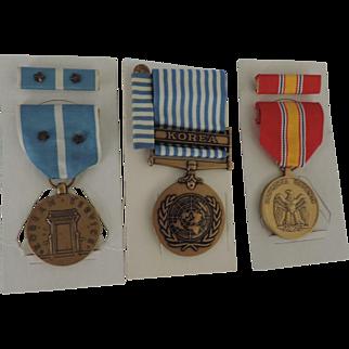 US Korean War Service Medals, Korean Service, National Defence, United Nations Service