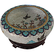 Chinese Cloisonne Bowl, Carved Wood Stand