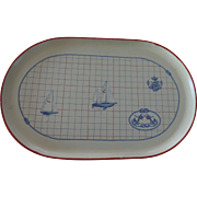 "Oval Papier Mache Nautical Themed Tray, 13 1/2"" X 21"", Made In Italy"