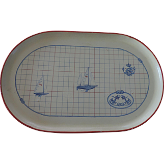 """Oval Papier Mache Nautical Themed Tray, 13 1/2"""" X 21"""", Made In Italy"""
