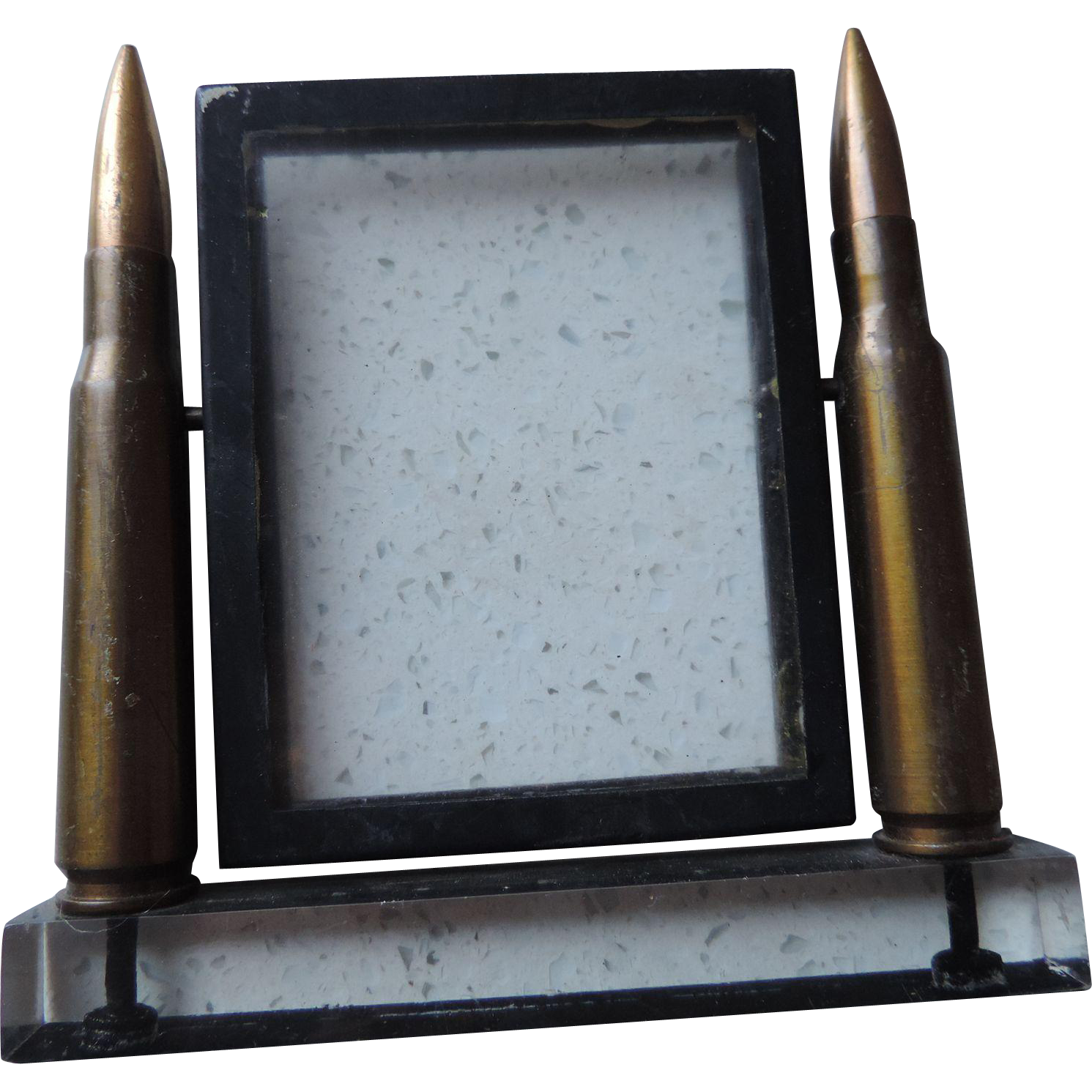 WWII Trench Art, 50 Caliber, Lucite, Glass, Picture Frame
