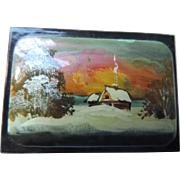 Russian, Hand Painted, Black, Lacquer Box