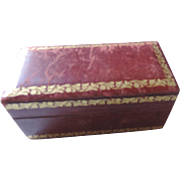 Red Leather, Gold Trim Stamp Box