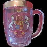 Queen Elizabeth II, Coronation Glass Mug, Gold Trimmed