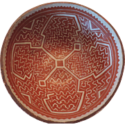 "Vintage Peruvian Indian Bowl, Shipibo Conibo, Maize Pattern, 8 1/4"""