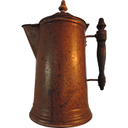 """Vintage Brass Coffee Pot, 11"""", Turned Wood Finial and Handle"""