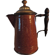 Manning-Bowman Brown Graniteware Coffee Pot