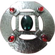"Large, 3 1/2"" Les Bernard, Inc. Hammered Silver, Red, Green Cabochon Stones Brooch"