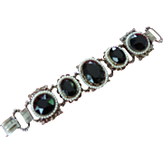 """Faceted Black Glass ,Faux  Seed Pearl, 5 Link Bracelet, 7 1/4"""""""