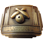 Art Deco Style Heavy Brass Bowling Champions, 1940-41, Belt Buckle