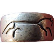 Pleiades, Sterling Silver, Horse Pictograph, Ring, Size 10; 6.8 Grams