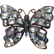 "Large, 2 1/4"" X 3"" Rhinestone Butterfly Pin"